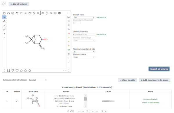 Benchmark 2: Chemical Abstract / SciFinder - ChemAnalyser